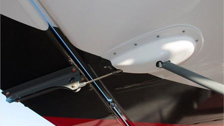 Neat fairing for the flap actuator/jury strut is one example of good detail design