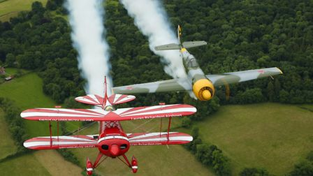 In formation with Lauren's beloved Pitts S-1