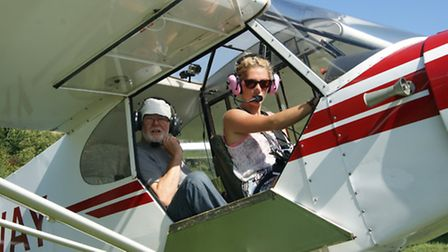 Cherry Charters about to fly with Glyn Richards in one of the Tiger Clubs two 90hp Super Cubs