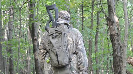 The Erbelestock daypack with built in scabbard is a great means of packing rifles without a sling