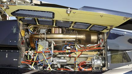 Much of the baffling array of pipes and wires around the 862shp turbine engine serves the FADEC syst