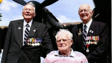 Surviving crew members Alec Cowan, Curly Ormerod and Rusty Waughman with the BBMF Lancaster