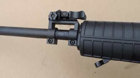 With the foresight folded down, the rifle will fit into a standard gun bag