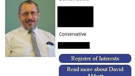 David Abbott is listed on Houghton Regis Town Council as a Conservative after being suspended from t