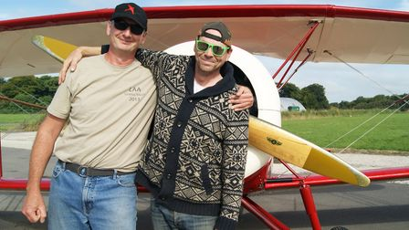 Robin King (left), LAA Inspector and aircraft restorer and Zach Rockey, mechanical and design engine