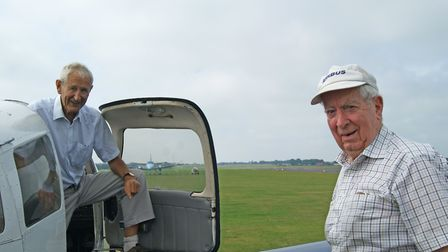 Stephen James (left) and Geoff Brookes are retired airline pilots in their eighties who have just fl