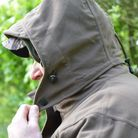 5. High neck fastens the removable hood tightly around your face if needed