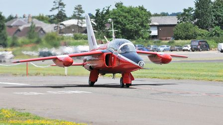 One of the Gnats taxies in after returning from a sortie typically these are of fifty minutes durat