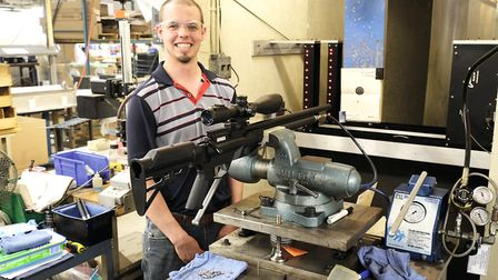 Every Crosman and Benjamin PCP air rifle is test fired after assembly using this fixture