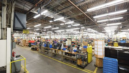 This overview gives us an idea of the massive scale of the Crosman assembly floor - and this is not