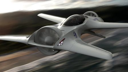 DeLorean's DR-7 uses electrically driven lift fans that swivel to provide thrust in wing-borne fligh