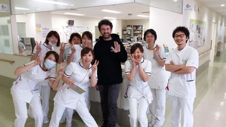 Colin made many friends among the medical staff in Japan who treated his injuries PHOTO: COLIN HALE