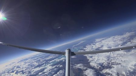 The tail camera of the Airbus Perlan Mission II pressurized glider captures a panoramic view from th