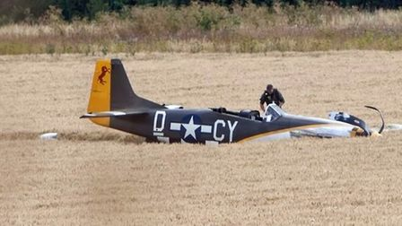 Miss Velma landed in the cornfield after engine failure PHOTO: Paul Tolliday