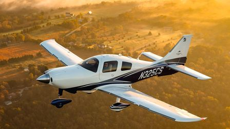 Photography of the Cessna TTx aircraft en route to, or over, Lake of the Ozarks. M Graham Clark Ai