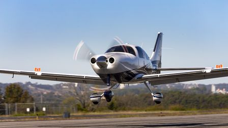 Photography of the Cessna TTx aircraft en route to, or over, Lake of the Ozarks.M Graham Clark Ai