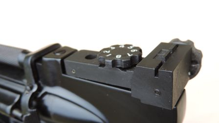 Fully adjustable sights on the Hurricane enable the pistol to be properly zeroed.