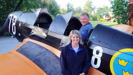 PHOTO: Charlie Huke - Vintage aircraft enthusiasts Charlie & Anna try a Klemm 35 for size