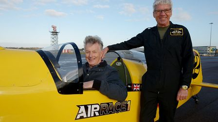 Terry in the cockpit with Trevor next to him