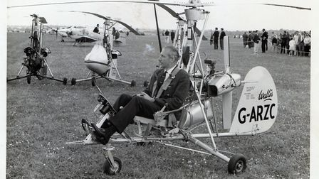 The ever immaculate and always elegantly attired Ken Wallis at rest in one of his autogyros