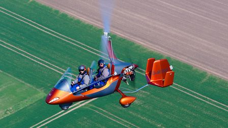 PHOTO: AutoGyro CAPTION: With its characteristic triple tail and kinked tail boom (to clear the pro