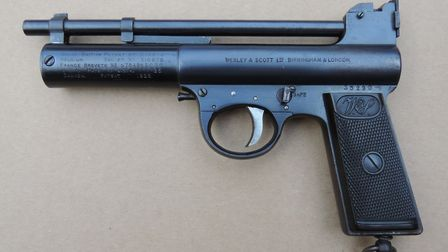 Webley introduced the principle of an adjustable trigger during the mid-1920s. The forward-facing ad