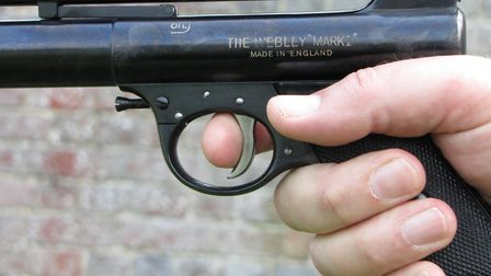 Use the pad of the forefinger against the trigger blade.