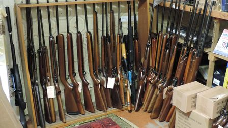 There is no room to display all the shop's recent acquisitions, and these old airguns will be displa