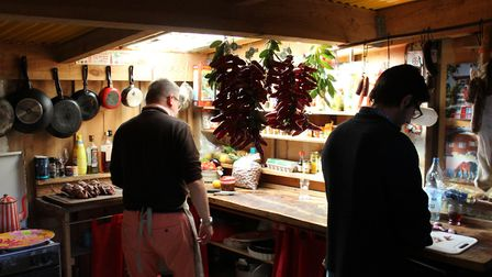 Cooking is as much a part of palombiere life as shooting