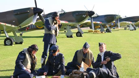 Re-enactors with Hurricanes behind (Peter R March)