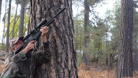 When hunting the woods, Ill often lean against a tree to steady myself