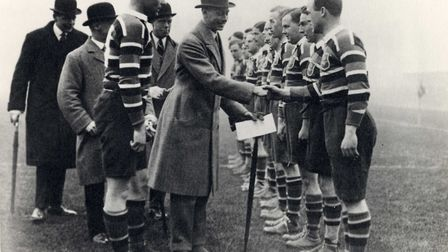 Lord William Wavell Wakefield and future President of the Rugby Football Union introducing the Princ