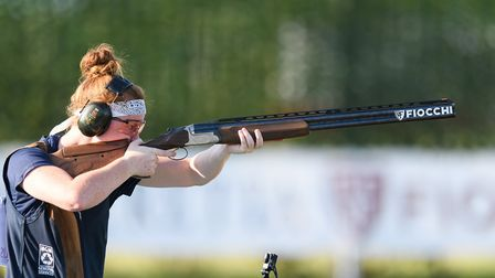 Ellie competing in the Trap Women Junior Final at the ISSF Junior World Cup Shotgun 2017 in Porpetto