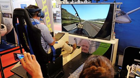 Taking off for a virtual flight in the popular sim area PHOTO: PHILIP WHITEMAN