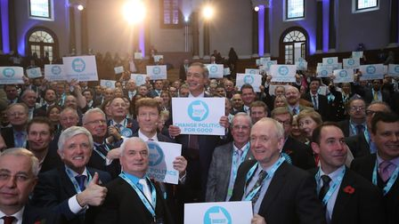 Brexit Party chairman Richard Tice (centre left) with party leader Nigel Farage (centre) and some of