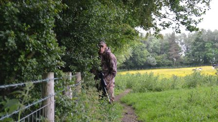 Keeping in towards the hedge allows me to retain the vertical shape of the human body, against the v