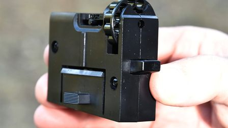 The 'box mag' holds a 12-shot rotary pellet magazine