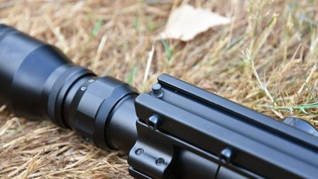 The stud in the one-piece mount locks the scope firmly in place.