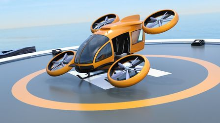 3D rendered image of a VTOL aircraft