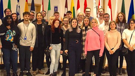 Judith Bunting MEP with young apprentices. Photograph: Judith Bunting.