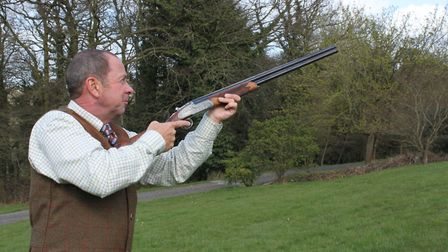 Start position for Partridge shooting over hedges, looking across barrels to where you will see the