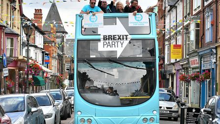 The Brexit Party bus. Photograph: Ben Birchall/PA.