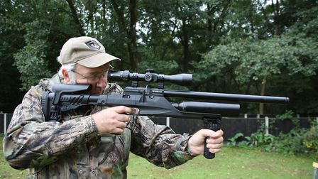 The included bipod folds to become a drop-down grip.