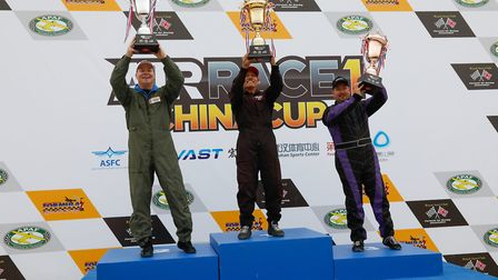 Air Race 1 China Cup gold final: From left second place getter Tim Cone, winner Steve Senegal and th