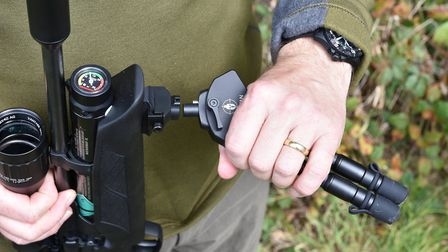 A powerful magnet holds the bipod in the socket