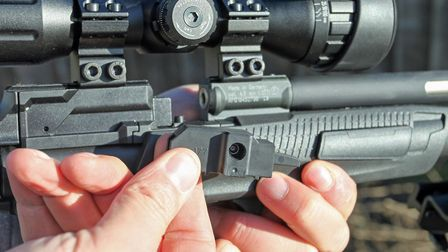 The 5-shot mag simply pushes in place