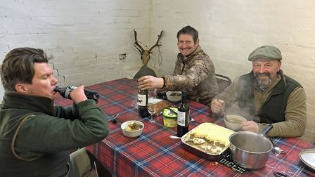 Shepherds pie with lashings of gravy and a tipple or two for lunch - how civilised!