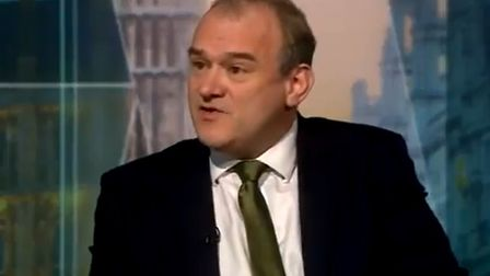 Ed Davey appears on the Andrew Neil show. Photograph: BBC.