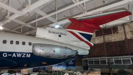 Tail of the Trident aircraft in storage at the National Collection Centre © The Board of Trustees of