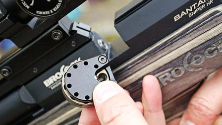 The 10-shot rotary magazine is easy to load and locate